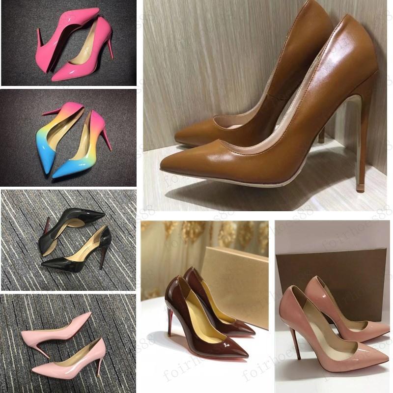 Новые с коробкой мода женская обувь красных нижних высоких каблуков 8 см 10 см 12 см обнаженная черная красная розовая кожа заостренные пальцы насосы платье