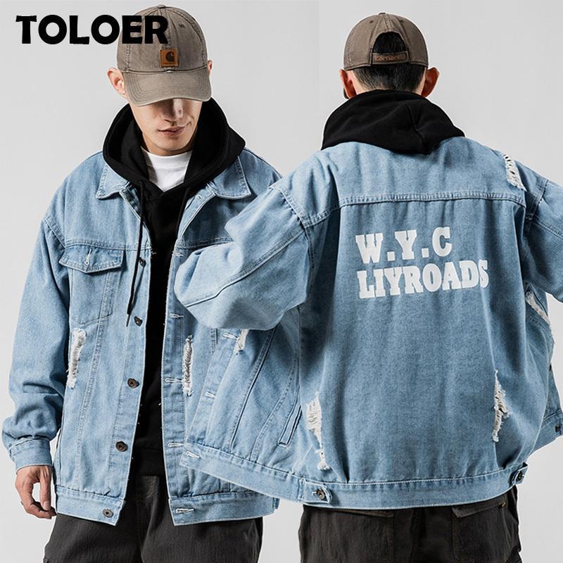 New Hip Hop Retro Jacket Rua Casual Pilot Jacket Moda Tamanho Grande Jacket Impresso Primavera Outono Denim jaquetas masculinas 5XL 201119