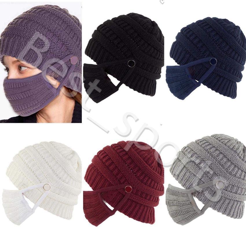 Winter Warme Strickmütze Wiederverwendbare Waschbare Gesichtsmasken Outdoor Sports Frau Strickkappen Masken CYZ2943