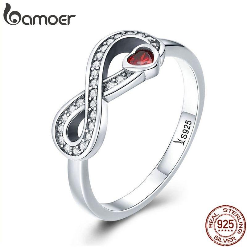 Bamoer 100% 925 Sterling Silver Infinity Love Forever Heart Chiaro CZ Dito Anello per le donne Gioielli di fidanzamento di nozze SCR415 20121818