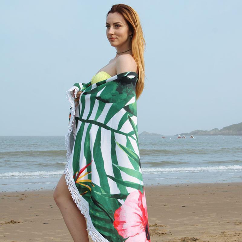 150cm de diamètre rond de serviette de plage coloré tapisserie tapis de pique-nique blanchette de plage châle de plage avec des glands à franges pour décor de voyage de vacances