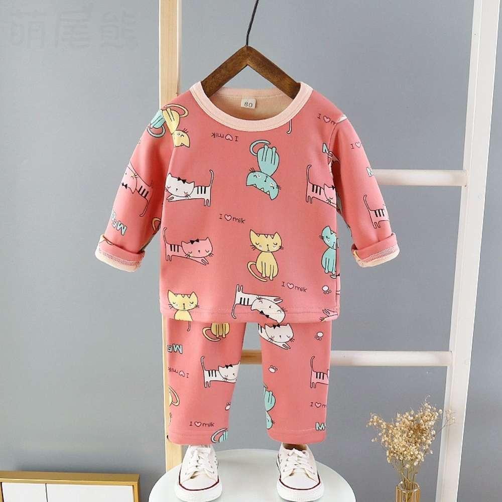 Inverno Autumn New Suit Biancheria intima Abbigliamento caldo e Peluche per bambini Peluche Peluche Abbigliamento per la casa Pigiama 75F2