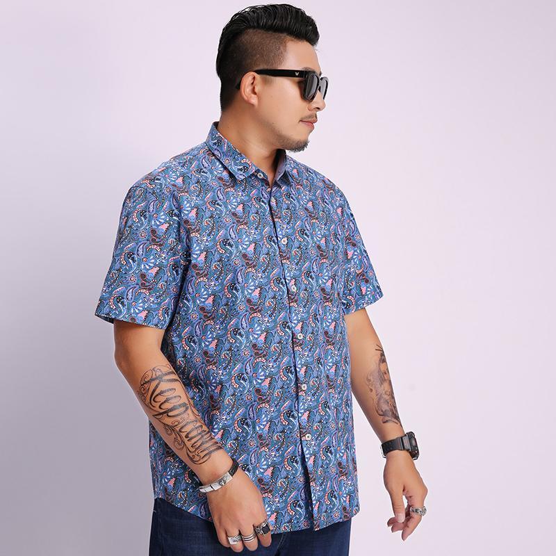 Camicie casual da uomo Summer Plus Size Big Men Camicia da sposa Big Cotton 8XL Business Formale Manica corta Office 7xL 6XL Stampa di lavoro