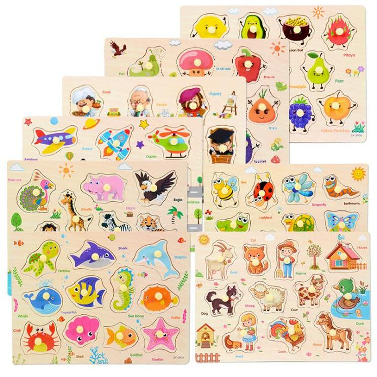 Montessori Puzzle / Mão Grab Placa Definir Educacional Brinquedo De Madeira Veículo Desenhos Animados / Puzzle Animal Marinho Bebê Crianças Brinquedos BSS346