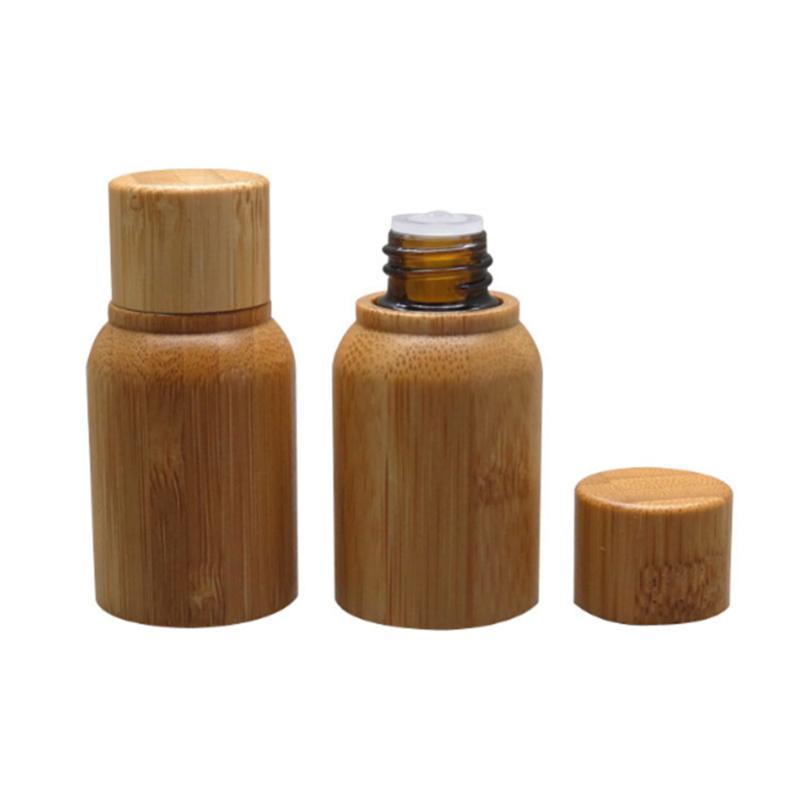 2p / lot 10ml 0.35oz Bamboo in legno di bambù Olio essenziale Bottiglia ricaricabile, imballaggio cosmetico Vuoto Bamboo in bambù in vetro ambra bottiglia di vetro rifiuti