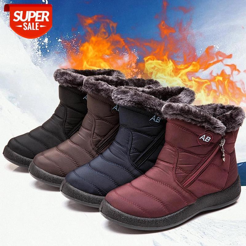 Botas de nieve Botas de tobillo de peluche para mujer Invierno Impermeable Mujeres Femenino Zapatos de invierno botines # yq9y