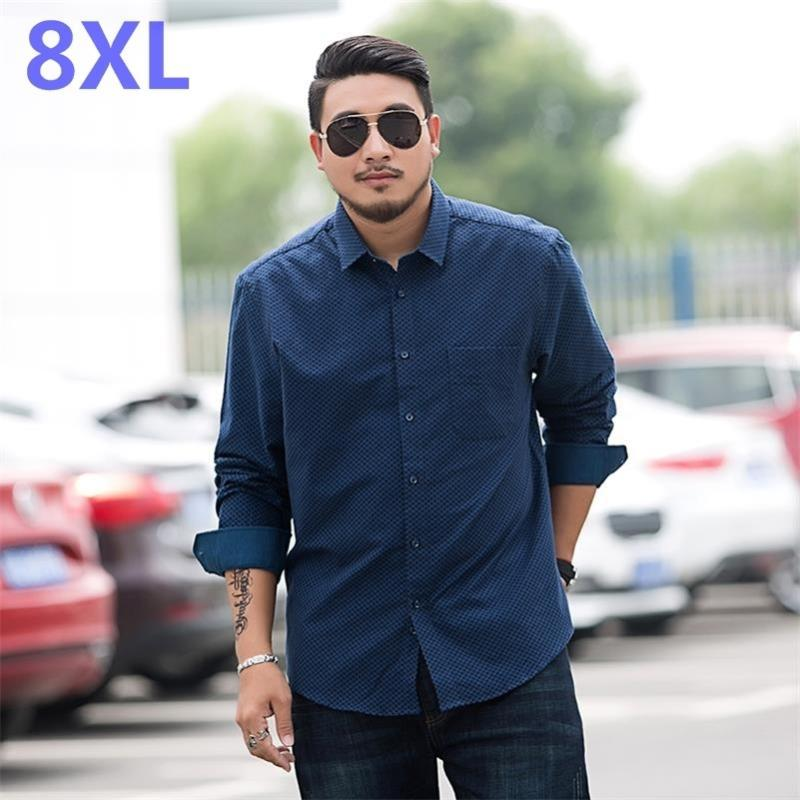 Camicie casual da uomo Gioventù Plus Size 8xl 7xl 6xl 5xl uomo manica lunga camicia grasso plaid maschio grande intelligente