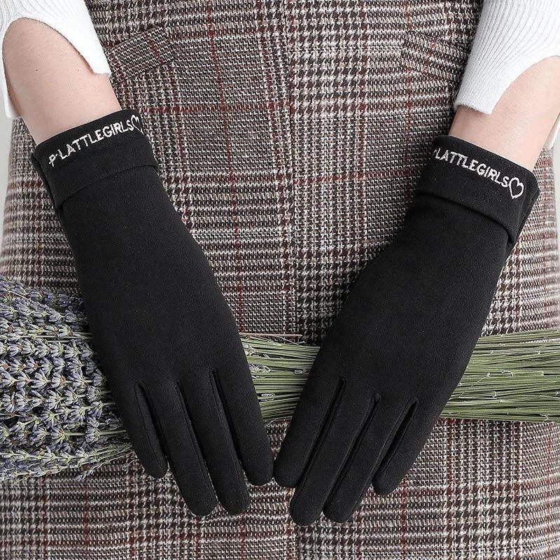 Elegante lettera ricamo elastico sport ciclismo guanti femmina inverno singolo strato cashmere caldo touch screen GUANTI GUAGGI I16