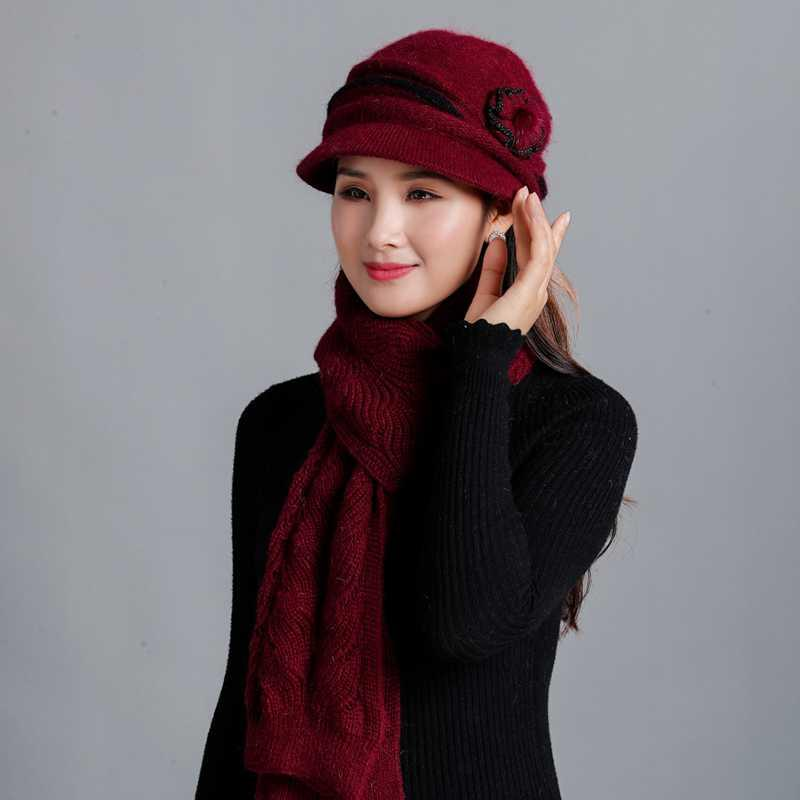 Luxo-2020 inverno mulheres chapéus lenço conjunto marca menina menina malha chapéus cachecol dois pedaços feminino mais espessa pele chapéu casual conjunto