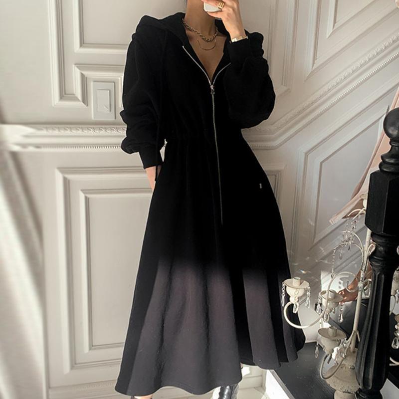 Женская шерстяные смеси негабаритные весенние осенние куртки с капюшоном женщины корейская молния кардиган шерстяное пальто ветрозащитный длинный верхняя одежда одежда 2021