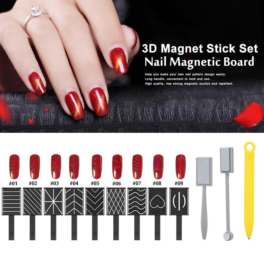12 pièces Magnet 3D Stick Set Set Stick Magnetic Cat Eye Stick Stick Vertical Stick pour Gel UV Polonais Magical Nail Outils