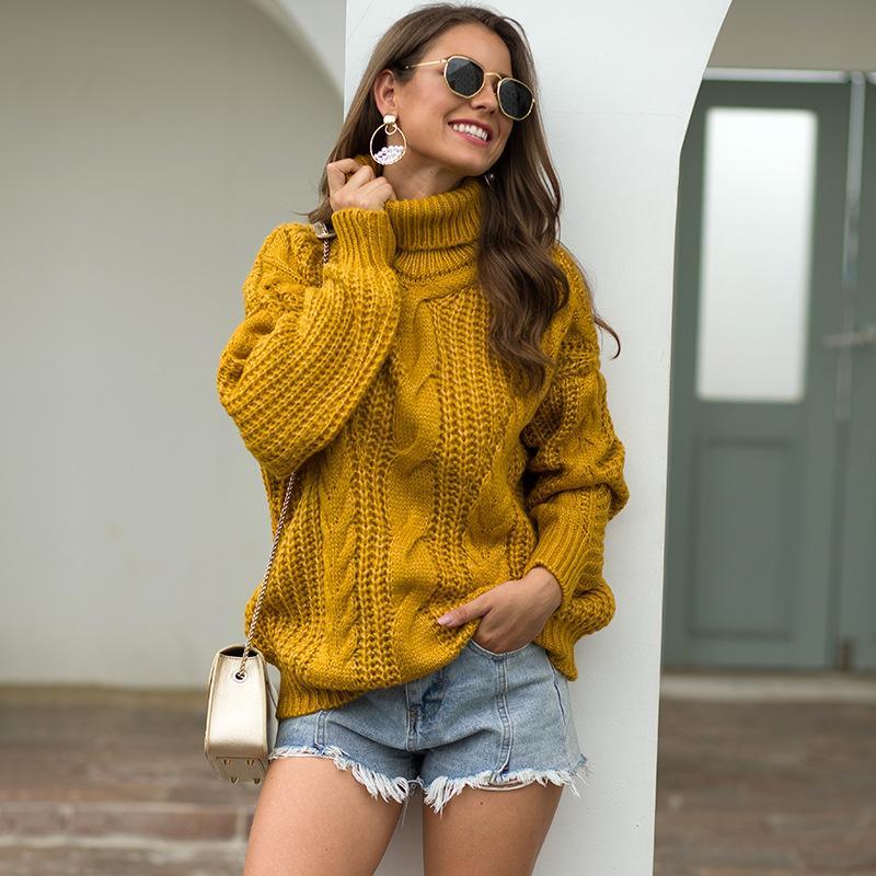 2020 Automne et hiver Nouveau tricot Pulls Turtleneck pour femmes Pull Overdim Overdize Femmes Pull