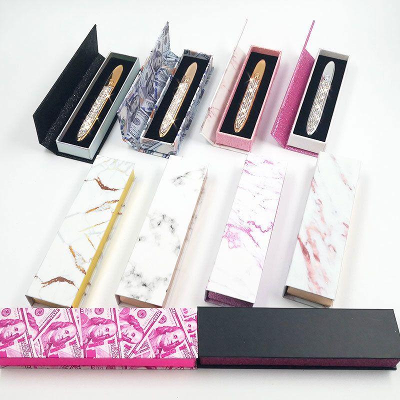Boîte à crayon auto-adhésive auto-adhésive marbrée Boîte d'emballage EYLINER MAGIC avec boîte à revêtement de doublure peut imprimer le logo 10 couleurs