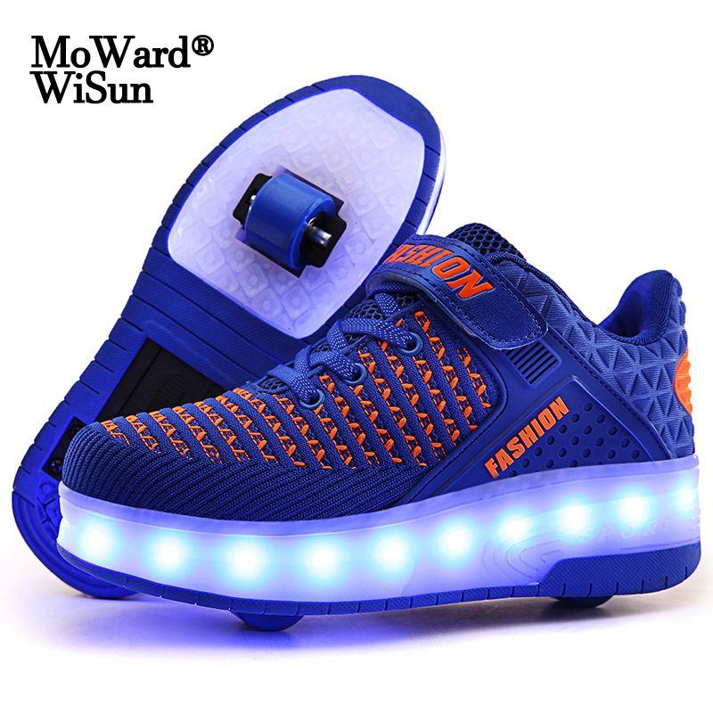 Размер 28-40 Светодиодные светящиеся роликовые коньки Обувь с огнями для детей мальчиков USB заряженные светистые кроссовки на двойных колесах Kid Girls 201130