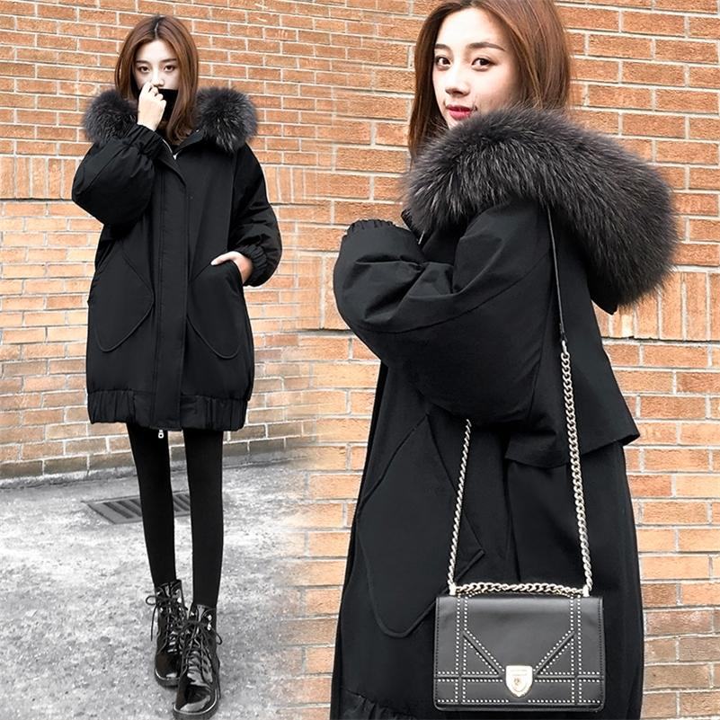 Winter Coat and Jacket Women Fur Collar Long Coat Hooded Parka Black Warm Korean Fashion Plus Size Duck Down Jacket Female 201211