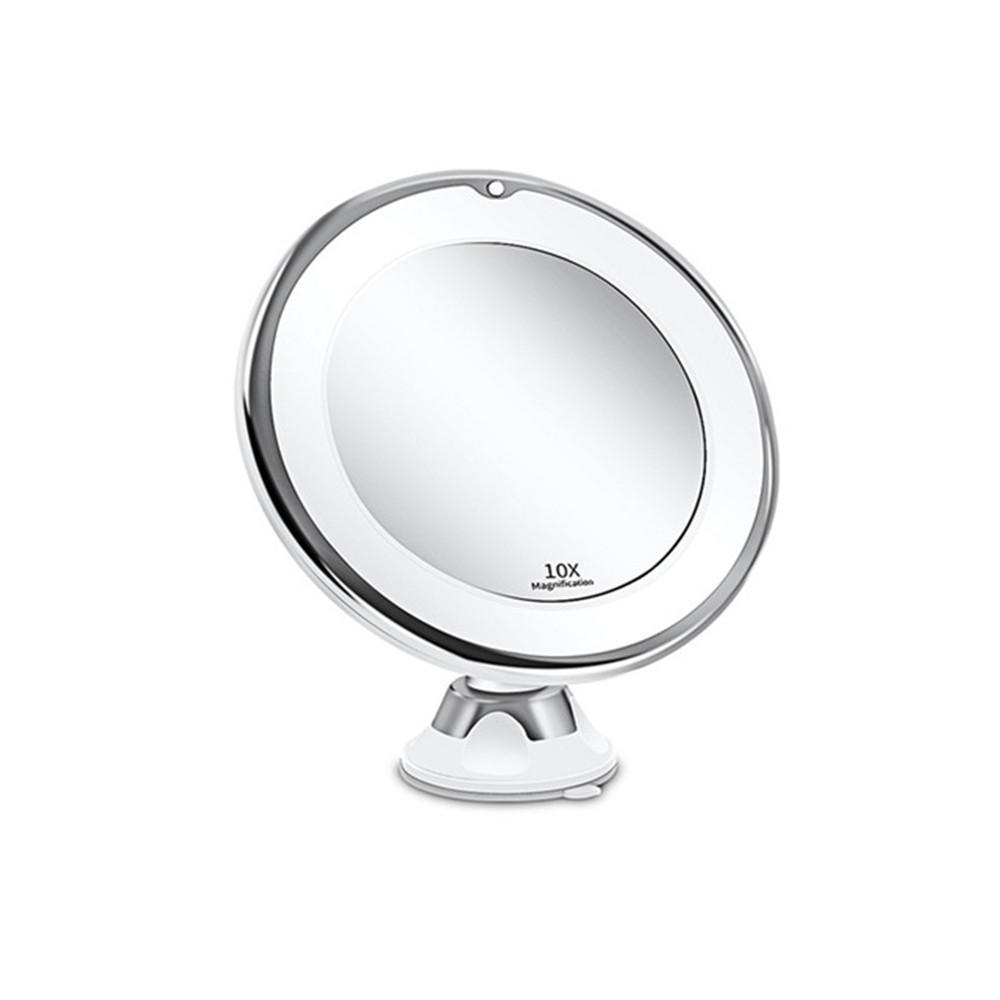 Espelho de maquiagem LED Espelho 10x espelho flexível com luz LED Vanity espelhos portáteis 10x ampliação cosmética compõem espelho Dropshipping