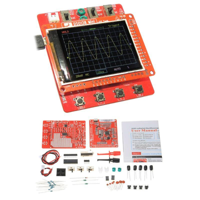 Jye Tech DSO138 Mini Osciloscopio digital DIY KIT DIY PIEZAS SMD PIEJAS PRELECTADAS APRENDIZAJE ELECTRÓNICO PRECIONAL 1MSA / S 0-200KHZ