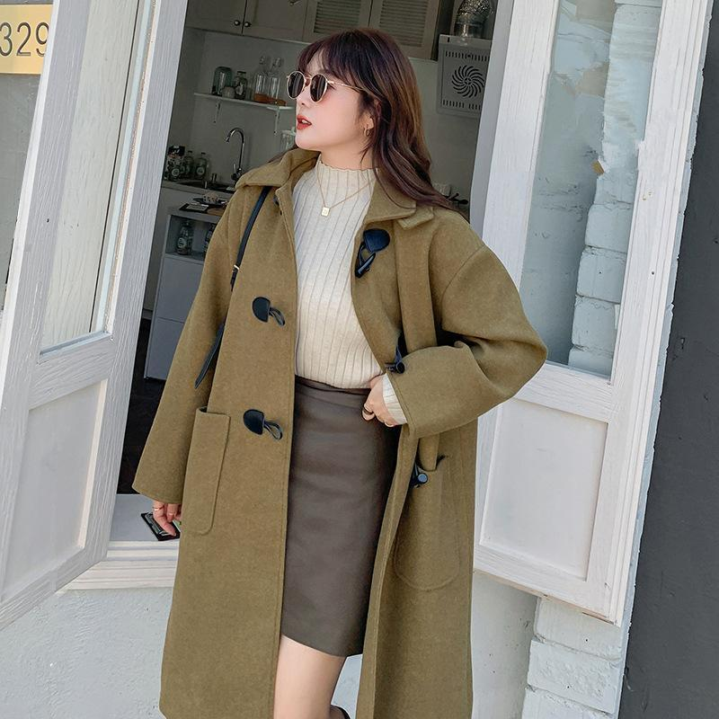 Winter Fashion Plus Size Coat Women Vertical Collar With Hood Horn Button Female Warm Joker Overcoat Soft Ladies Long Chic Y166