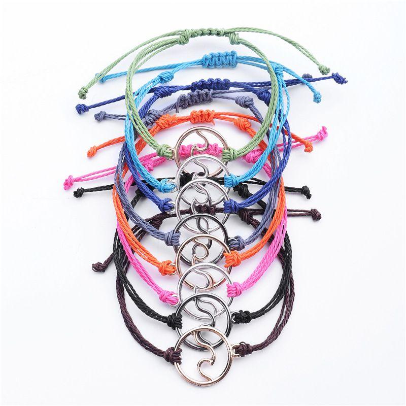 Bracelet à ondes à la main Girls imperméables Girls Coloré Bijoux Charms Cordon Bohemian Bohemian Vintage Vintage Braité Bracelets 215 N2