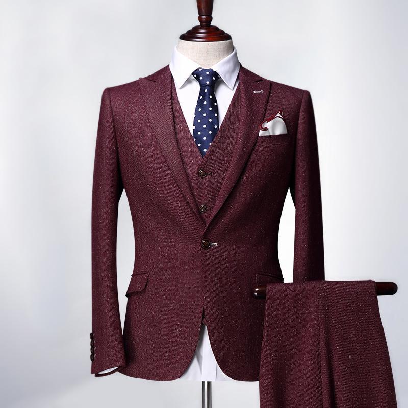 Men's Suits & Blazers Pre Sale Summer Men Set Jacket + Pant 2pcs Sets Young Man Red Slim Single Button Casual Party Wedding Groom For Plus
