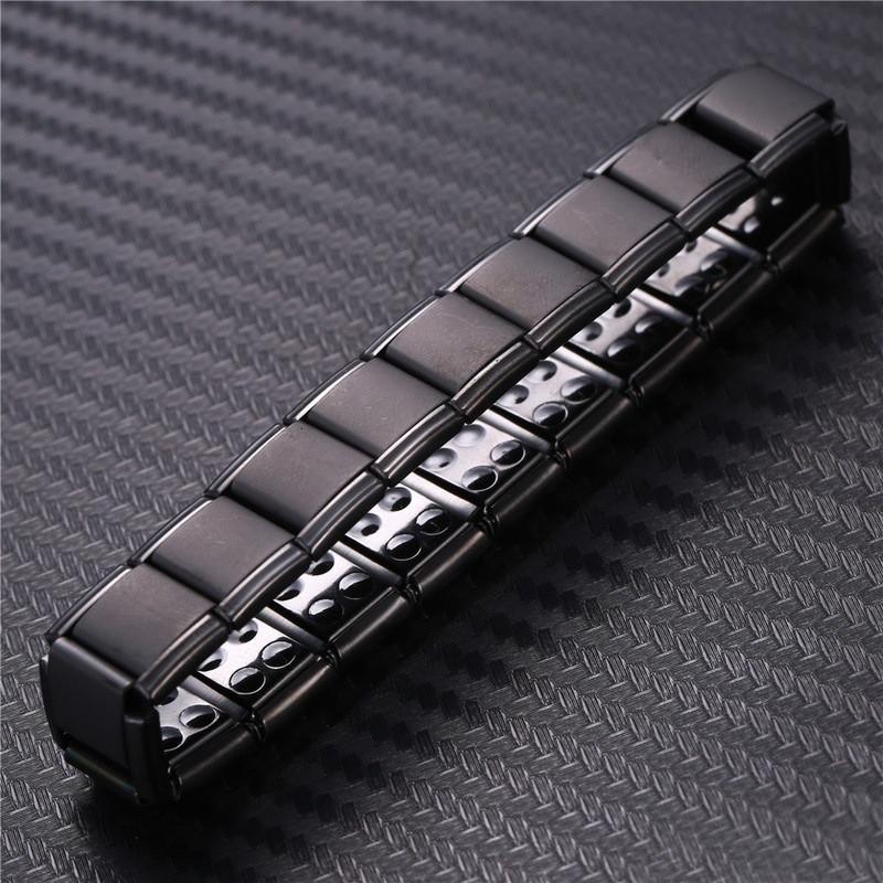 IBNVQ Titanium Steel Регулируемый каменный черный браслет