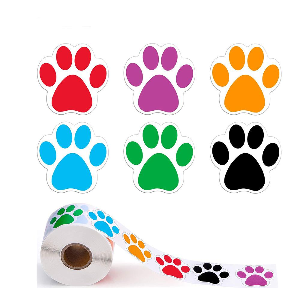 500pcs Blackand Colours Paw Print Stickers Dog cat bear Paw Labels Stickers for laptop reward sticker stationery teacher for student