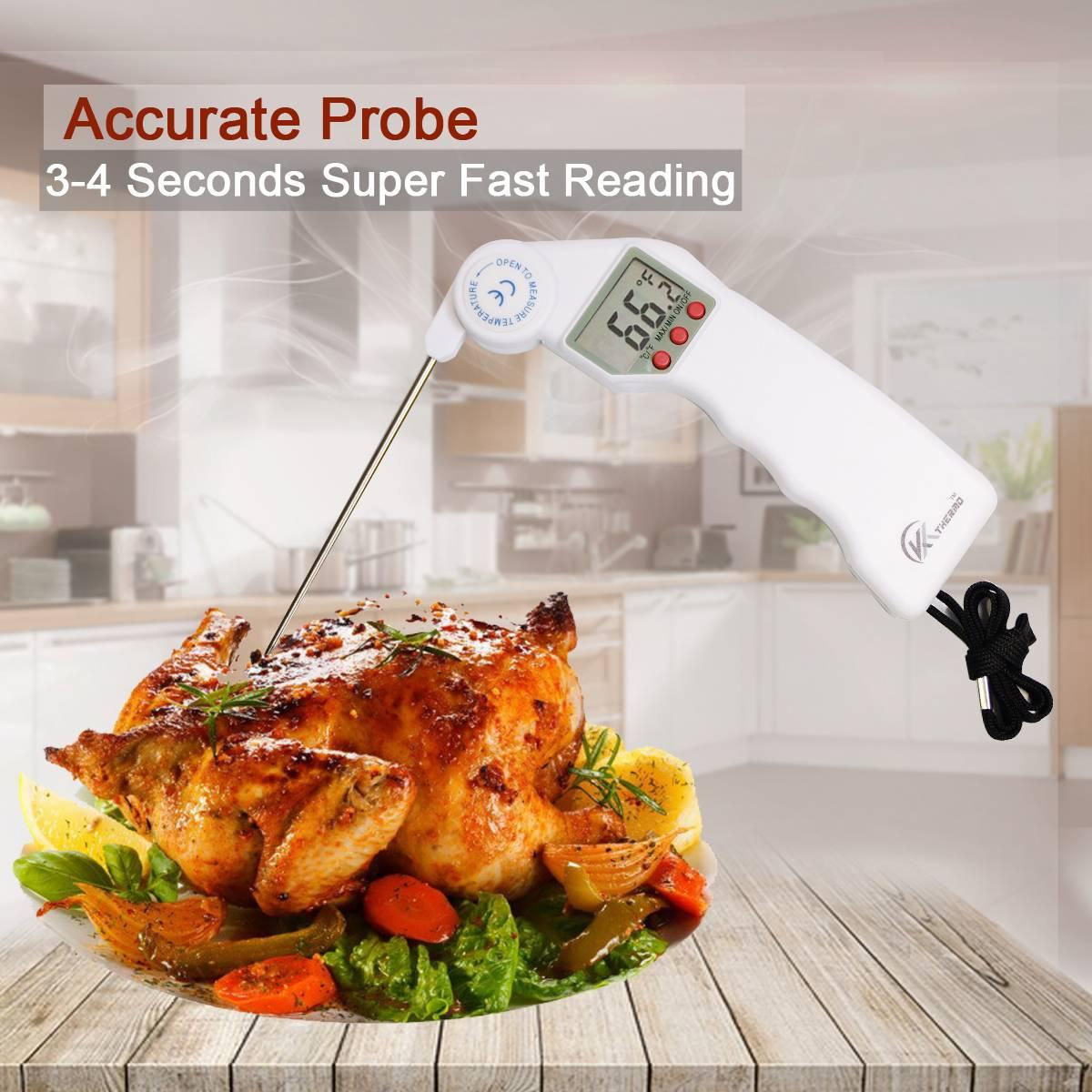 KT THERMO Instant Read Digital Thermometer Super Fast Meat Thermometer with Digital LCD Long Folding Probe for Cooking BBQ