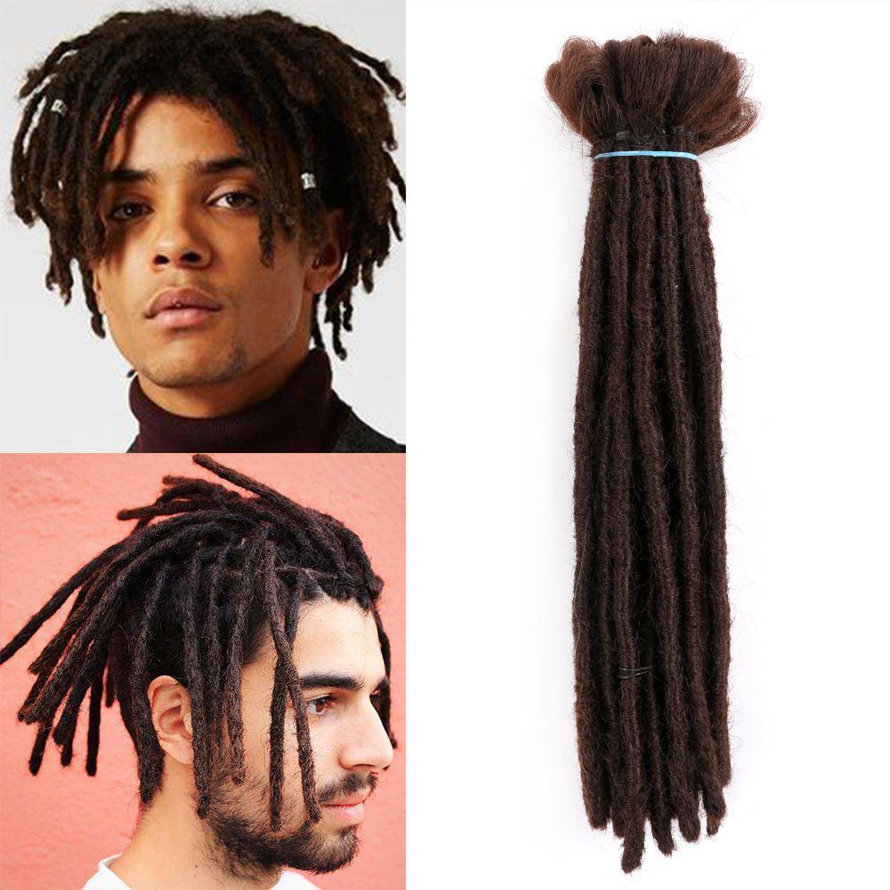 Pelo sintético Corto Dreadlocks Extensiones para el cabello para HIP-HOP Black Men Synthetic Reggae Pein Pure Color 1strands por paquete