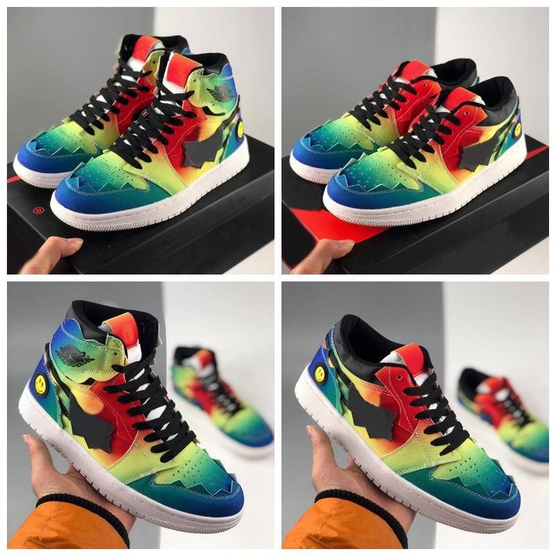 새로운 저렴한 J Balvin 1 농구 신발 Herencia 여성 망 트레이너 운동화 레인보우 넥타이 염료 스포츠 Des Chaussures Zapatos 크기 36-45