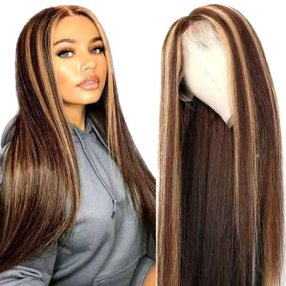 Scalpo falso Ombre destaca las pelucas de la parte media para las mujeres negras, el cabello humano recto brasileño de la pieza de encaje de la pieza de encaje de la parcela de la peluca prefabricada con el pelo