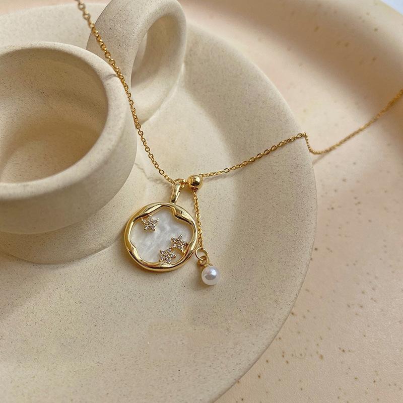 Titane acier design cristal étoile pendentif vintage simple clavicule chaîne perle collier collier de tempérament femme