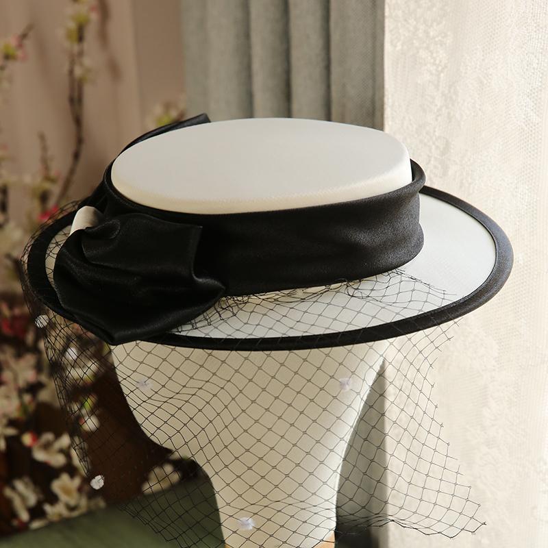 2020 Französisch-Art-Spitze Brautkleid Verbandsmull Hut 2020 New Satin Flat Top Weiß Braut Hut Hüte für Frauen