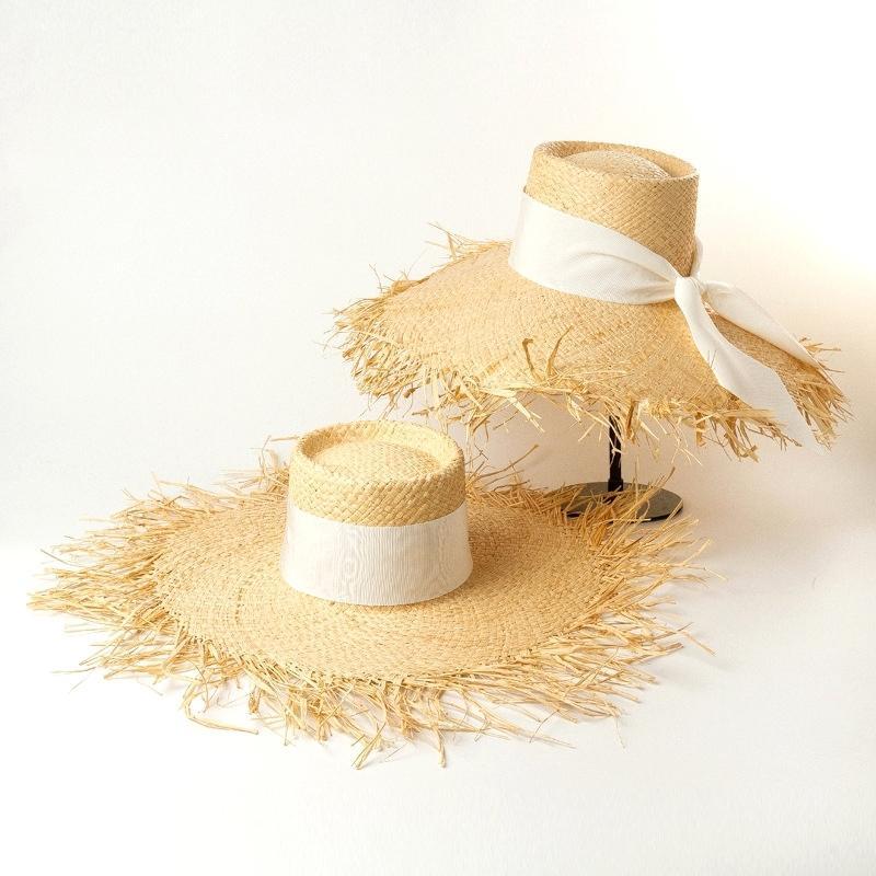 Nuevas mujeres de moda Rafia Sun sombreros Sombreros de la playa de la paja de la paja de la paja de la paja grande de las gorras de ala de las cápsulas grandes al por mayor Y200602
