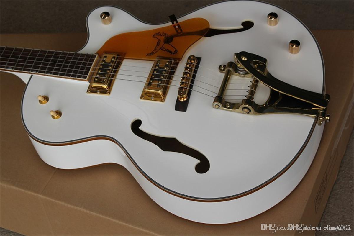 Custom Shop 6120 Guitare Blanc Falcon Guitar Electric Borceau creux de jazz avec tremolo