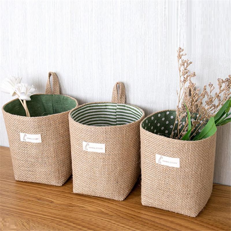 Креативное общежитие двери висит стены хранения сумки для хранения хлопчатобумажные льдины настольные корзина для хранения Джутовой корзину T9i00845