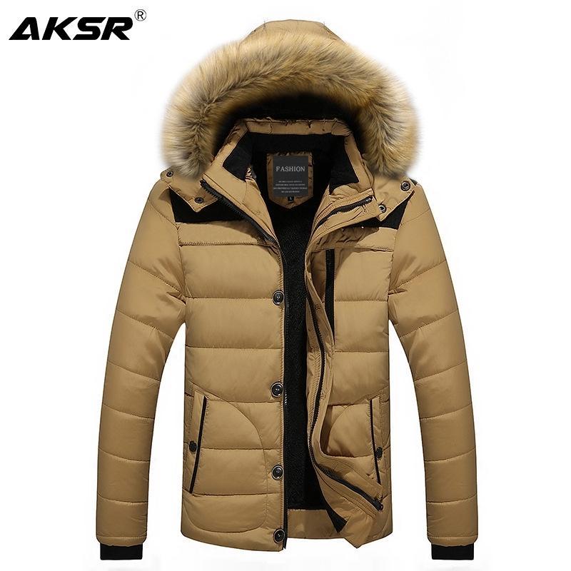 AKSR Winter Jacket Coat Men Large Size Thick Plus Velvet Hooded Fur Collar Parka Men Zipper Windbreaker Long Coat Abrigo Hombre 201028