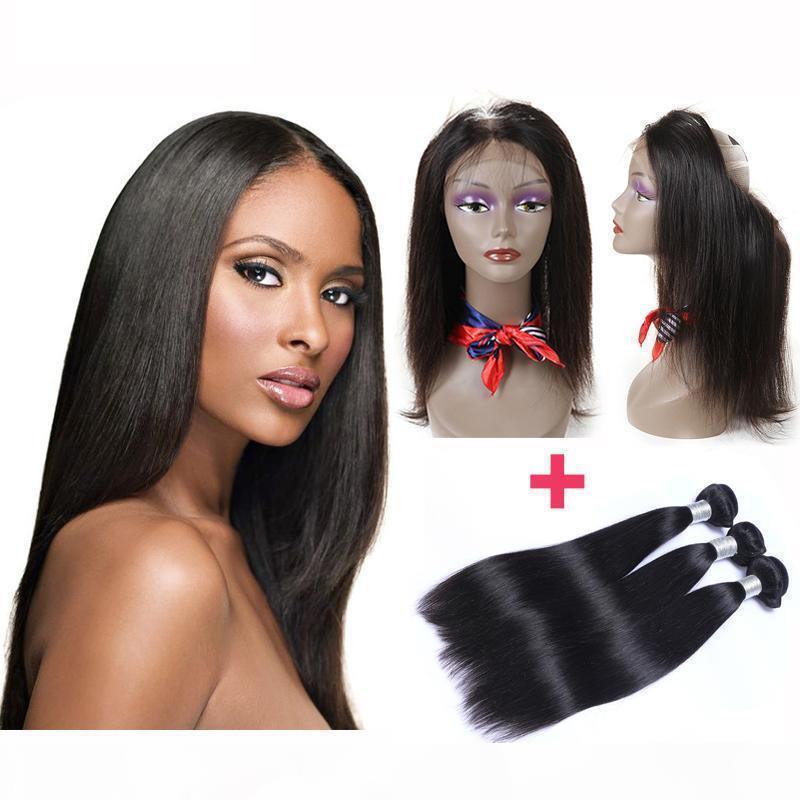 Предварительно сорванные бразильские прямые человеческие волосы плетения с 360 кружевной полосой фронтальные человеческие волосы с ровными волосами 4шт.