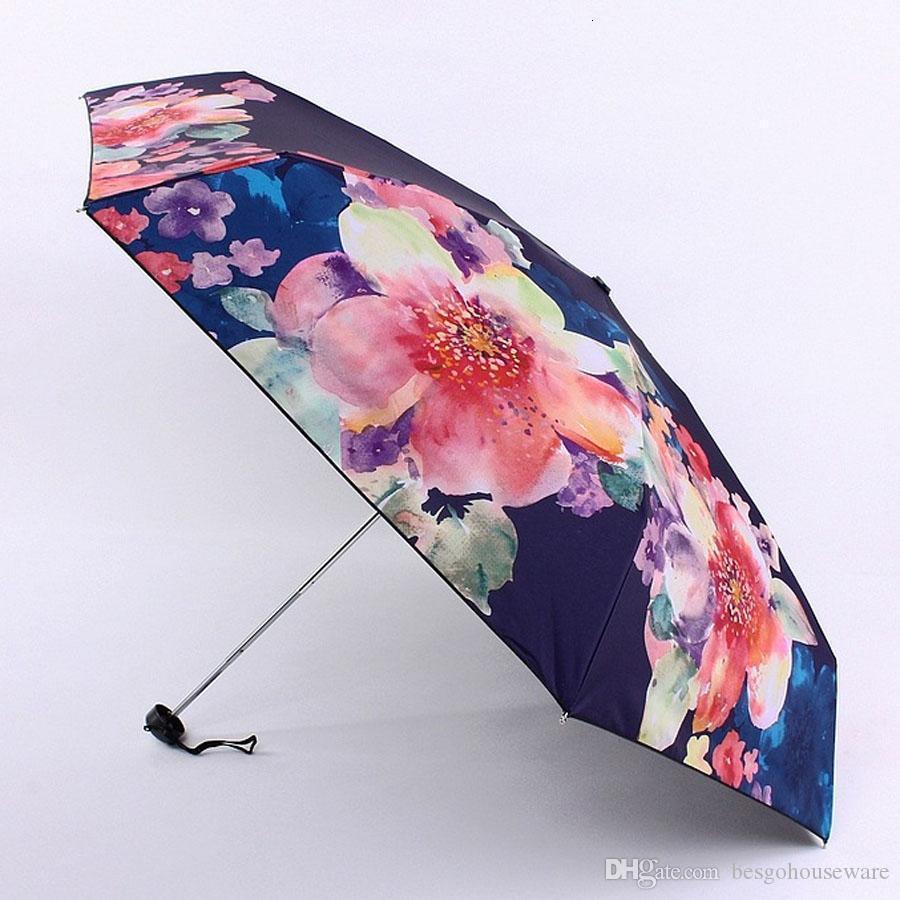 Su geçirmez Çiçek Baskı Gölgelendirme Açık Taşınabilir Ultra Hafif Beş Katlanır UV Koruma Şemsiye BH0880 TQQ