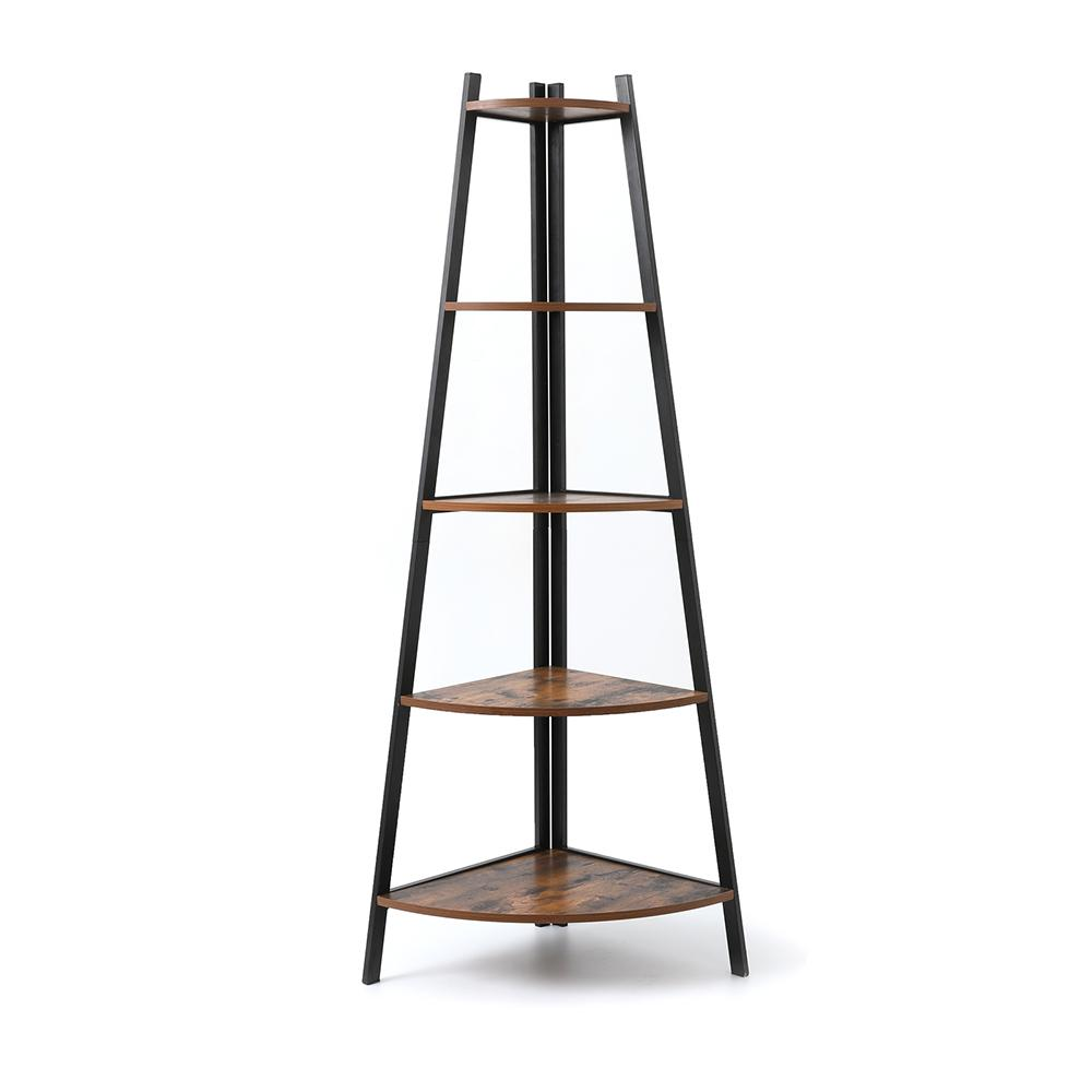 WACO Ladder Corner Shelf, 5 Tier Wood Bookshelf Display Rack Plant Stand Holder Living Room Bedroom Bookcase Furniture Storage Rustic Brown