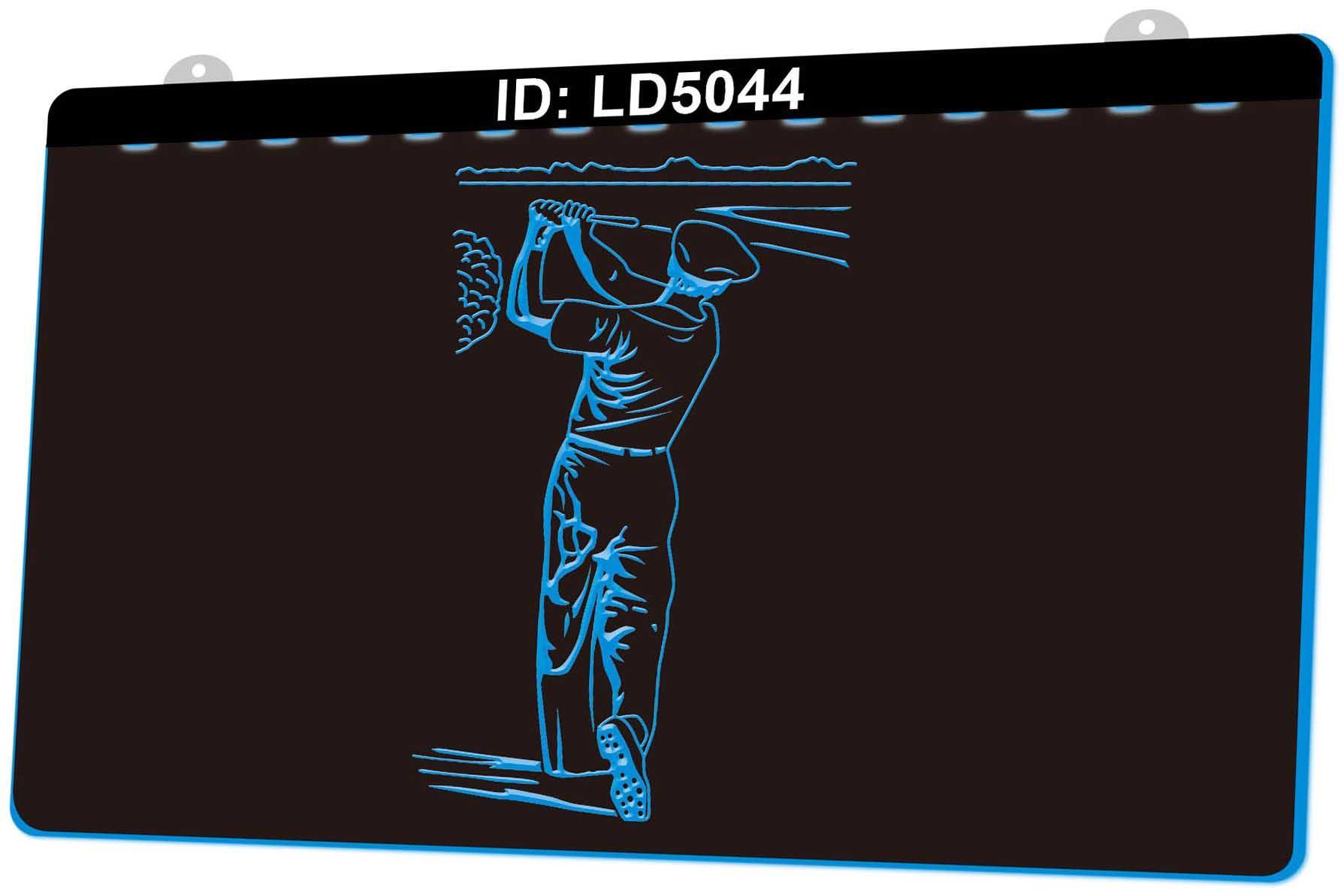 LD5044 Golfers 3D gravura LED Light Sign 9 Cores Atacado Varejo Design Grátis