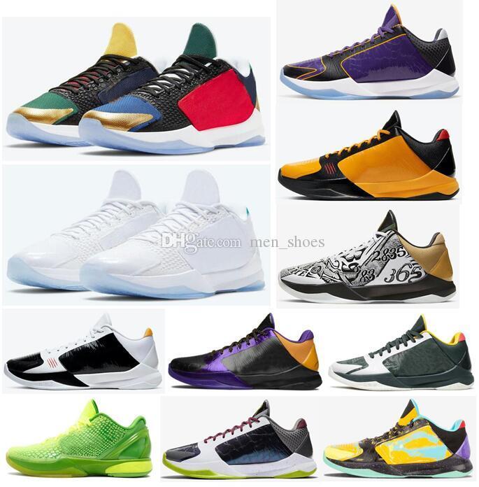 새로운 Mamba Zoom 5 Protro Lakers Bruce Lee 큰 무대 혼돈 Prelude 금속 골드 링 남자 농구 신발 스포츠 스니커즈