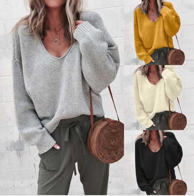 2020 Yeni Kış Avrupa ve Amerika Birleşik Devletleri Yeni Eğlence Fermuar Kazak Elbise Gevşek Kadın