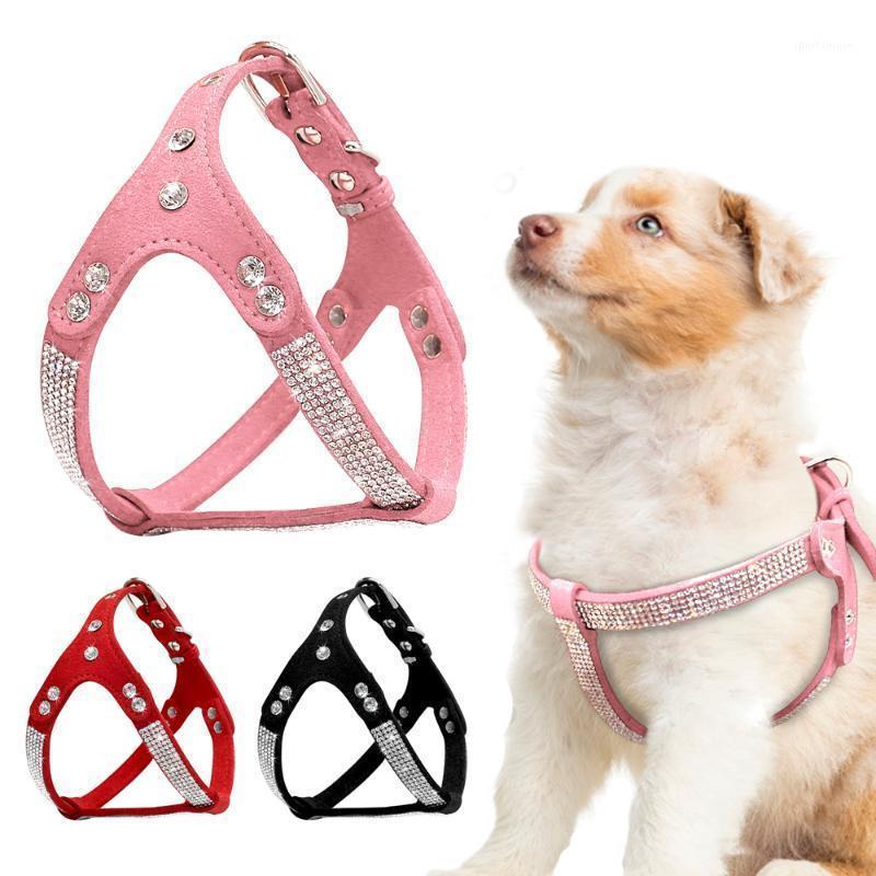 Perrito de cuero de gamuza suave Arnés para perros PET CHITH PERROS CHIHUAHUA MASCOTAS Arneses Medio para Pink Pequeño Cachorro1