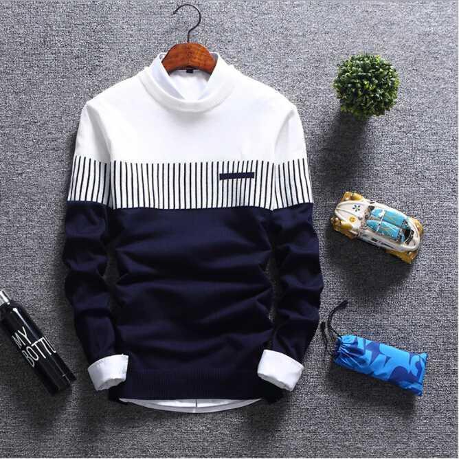 Suéteres para hombre 2018 Otoño Invierno Nuevo Streetwear Pedido Masculino Punto de punto Cálido Coreano Slim Redondo Cuello Ropa 1