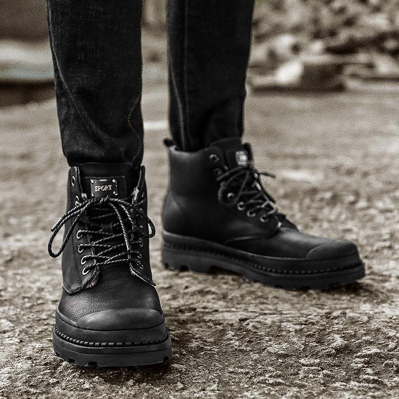 Сапоги мужские кроссовки мужские туфли вскользь высокая кожаная квартира с 2021 Zapatillas кроссовки мужские верхние черные zamight1