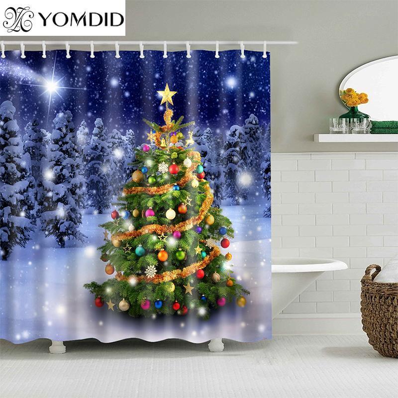 Yomdid noel рождественские украшения ванна занавес рождественские елки образец душевой занавес мультфильм для ванной комнаты cortina de ducha