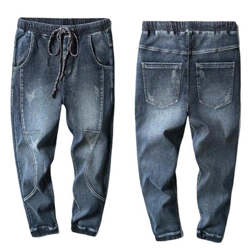 Jeans inverno homens morno corredores jeans harem calças engrossar splicing splicing denim calça versão eastic cordão cintura