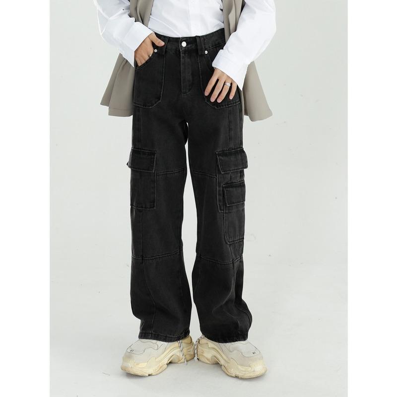 Men 2020 Autumn Vintage Jeans Washed Loose Wide Leg Pants Straight Cargo Pants Baggy Jeans Denim Streetwear