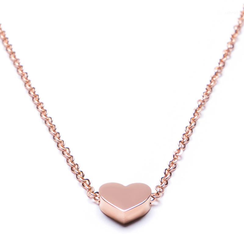 Collane in acciaio inox boniskiss per donne collana a catena lunga collana cuore ciondolo gioielli da donna elegante rosegold bijoux femme1