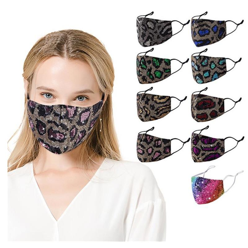 Leopard Sequins Masks Women 3-ply Filtration Dustproof Face Mask Bling Sequin Cotton Mouth Cover Ladies Outdoor Durable Face Masks Xmas INS